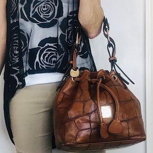 Dooney & Bourke Croc Embossed Leather Bucket Bag